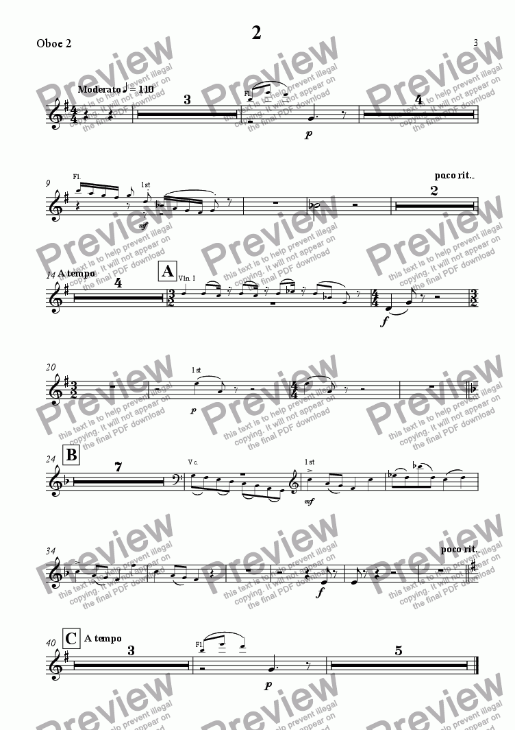 page one of the Oboe 2 part from Eine Kleine Tagmusik - Movt 2