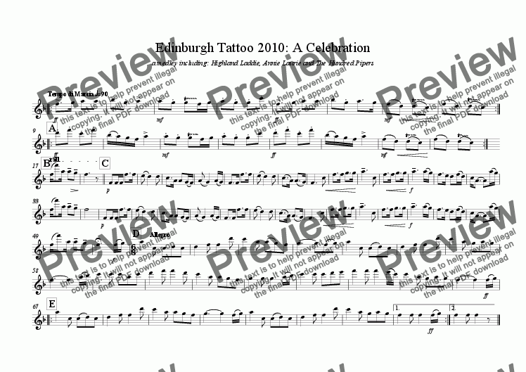 page one of the 1 clarinet part from Edinburgh Military Tattoo: A Celebration