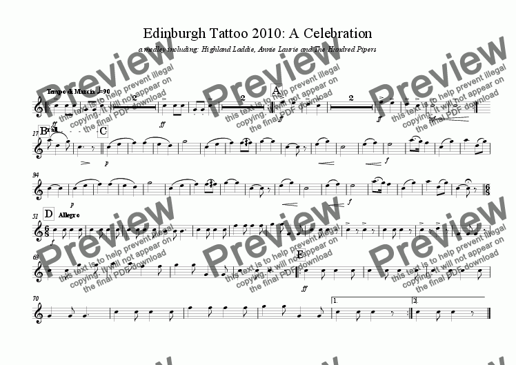 page one of the baritone sax part from Edinburgh Military Tattoo: A Celebration