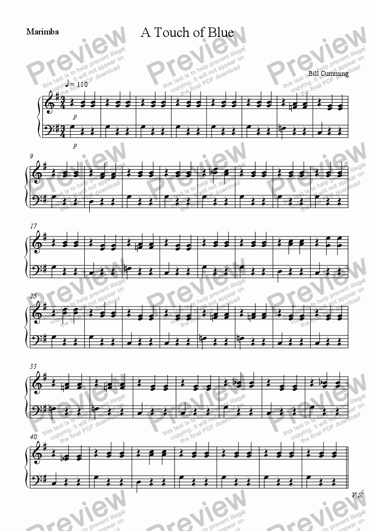page one of the Marimba part from A Touch of Blue