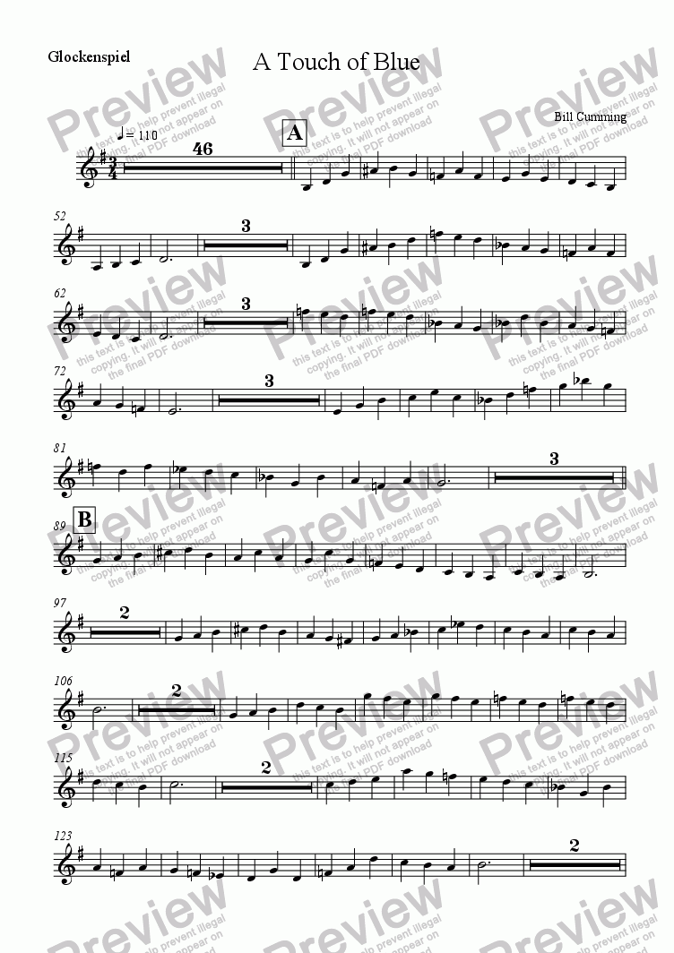 page one of the Glockenspiel part from A Touch of Blue