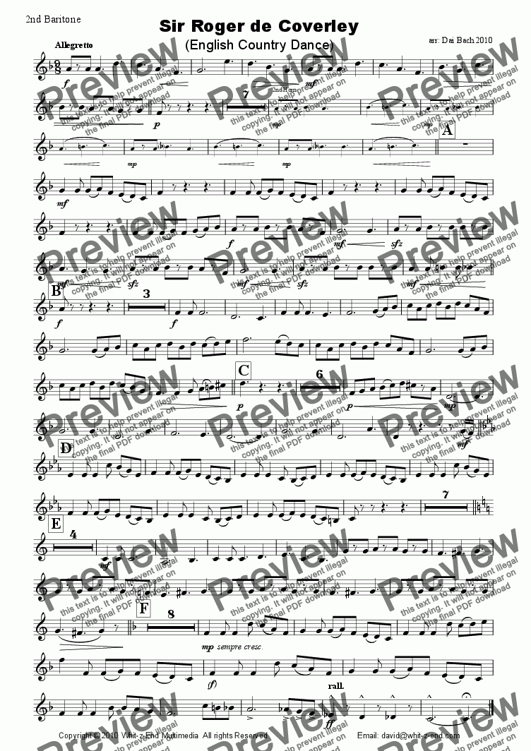 page one of the 2nd Baritone part from Sir Roger de Coverley