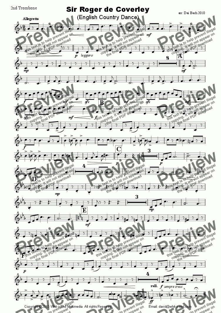page one of the 2nd Trombone part from Sir Roger de Coverley