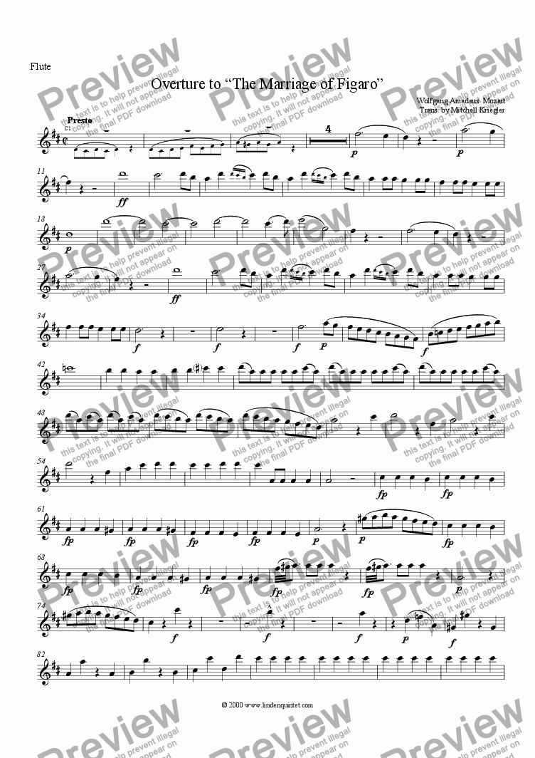 page one of the Flute part from Mozart - Marriage of Figaro 0verture