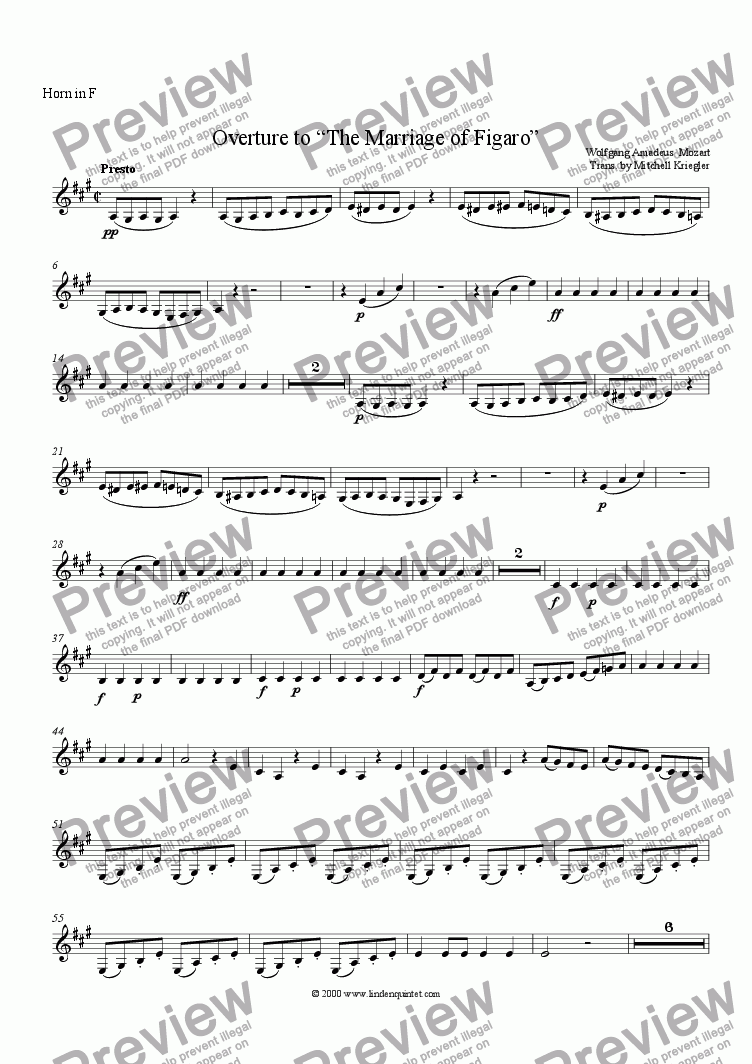 page one of the Horn part from Mozart - Marriage of Figaro 0verture