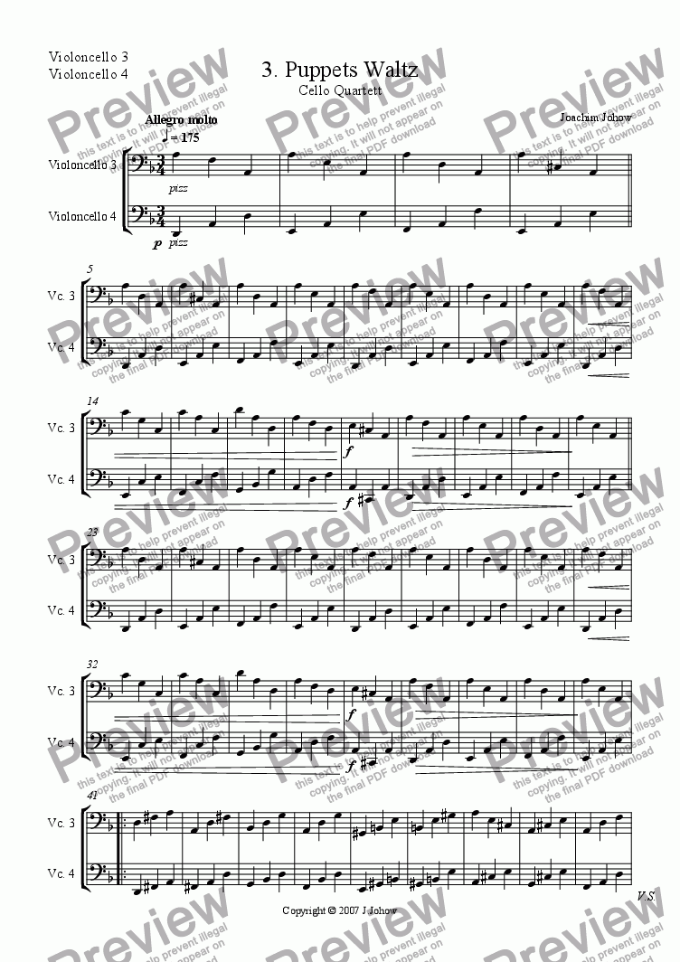 page one of the 3./4. Vlc part from Cello Quartett 03 (Puppets walz)