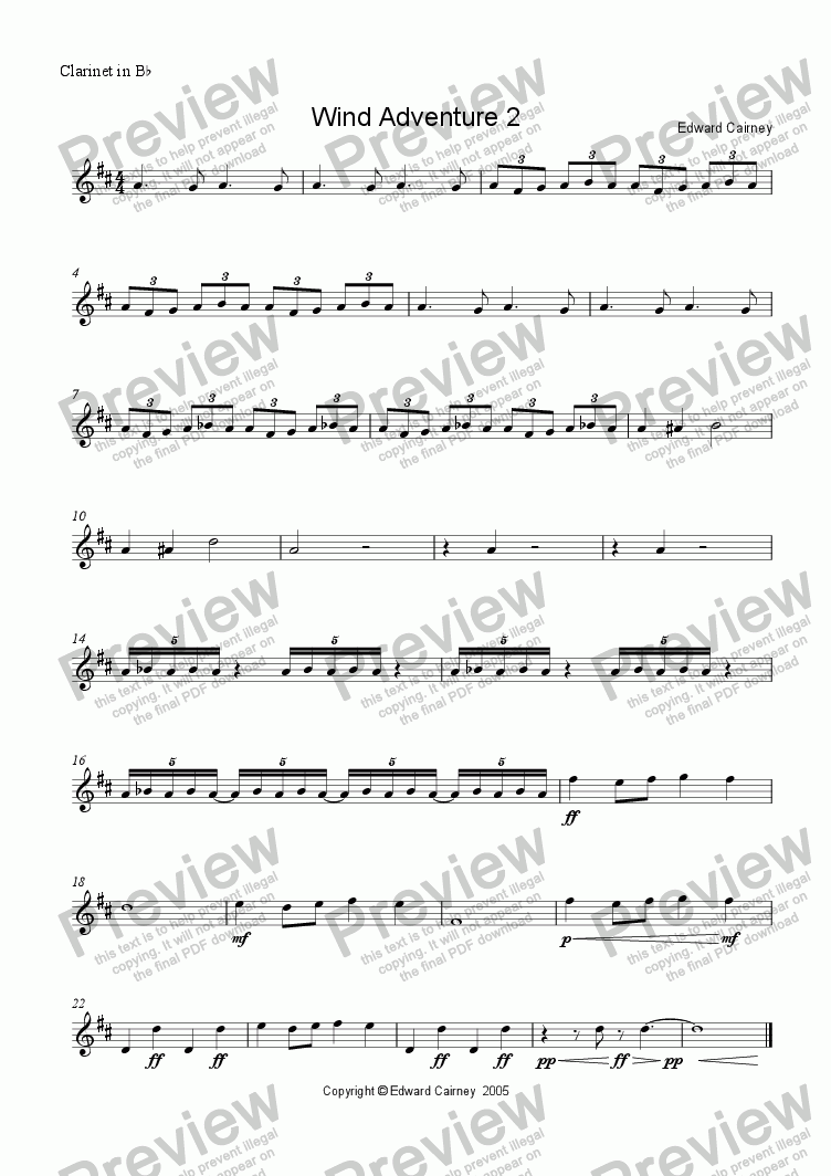 page one of the Clarinet in Bb part from Wind Adventure No. 2