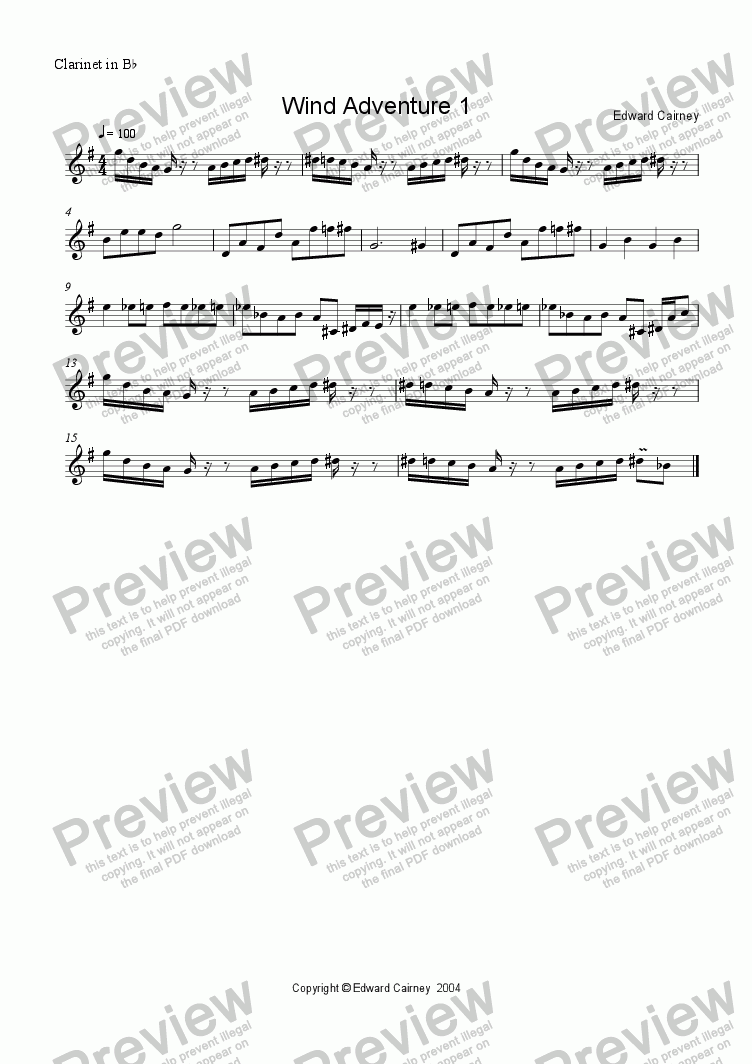 page one of the Clarinet in Bb part from Wind Adventure No. 1