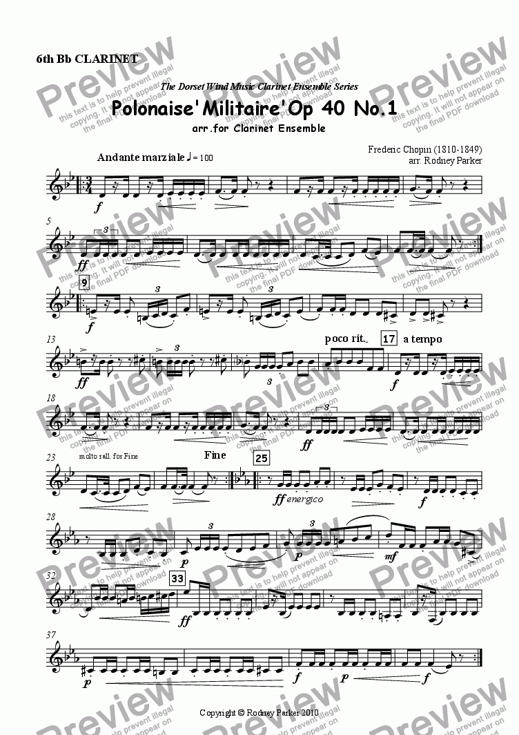 page one of the 6th Clarinet part from Polonaise 'Militaire' arr. for Clarinet Ensemble