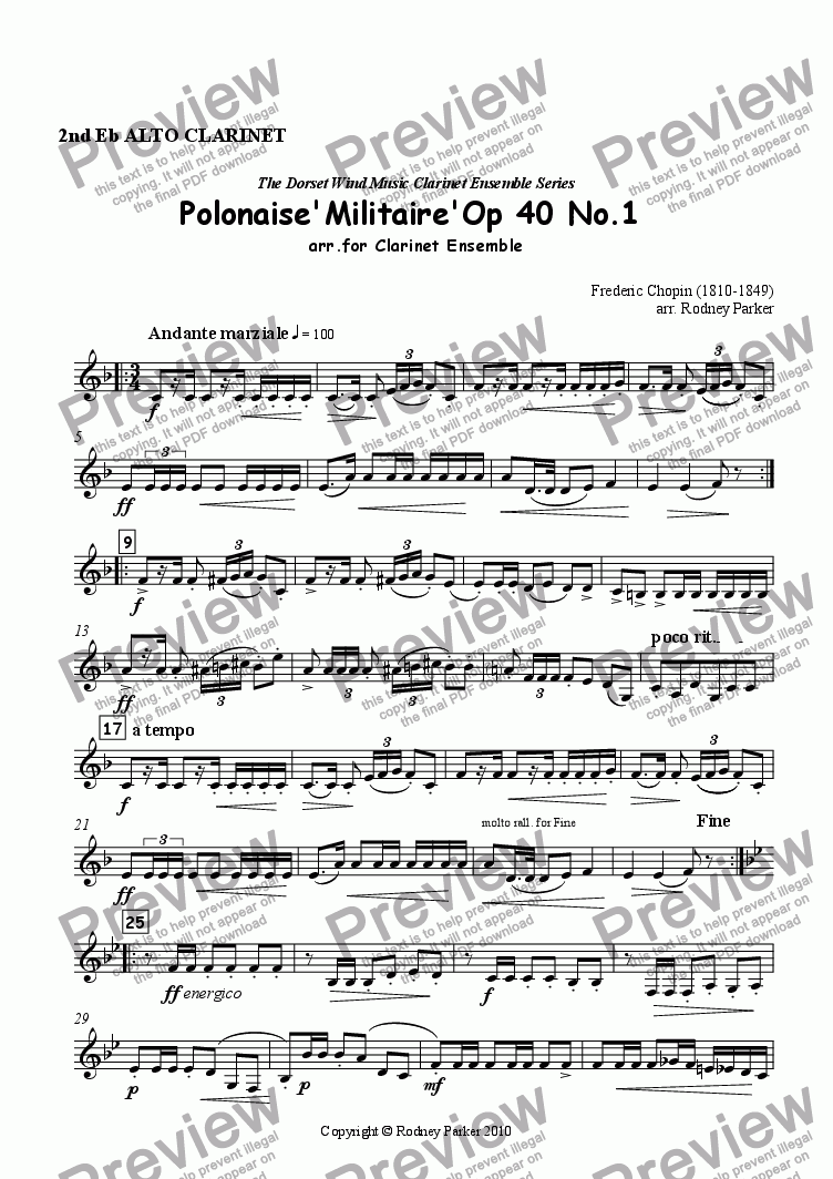page one of the 2nd Alto Clarinet part from Polonaise 'Militaire' arr. for Clarinet Ensemble