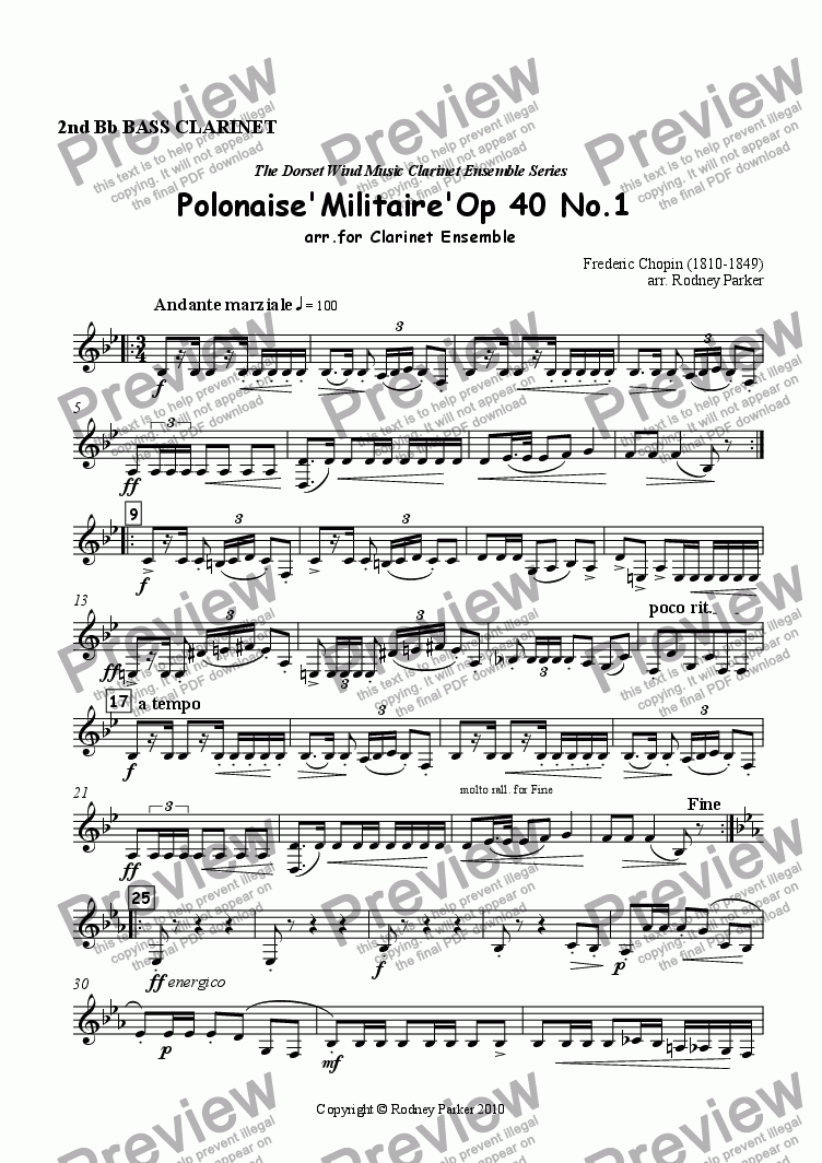 page one of the 2nd Bass Clarinet part from Polonaise 'Militaire' arr. for Clarinet Ensemble