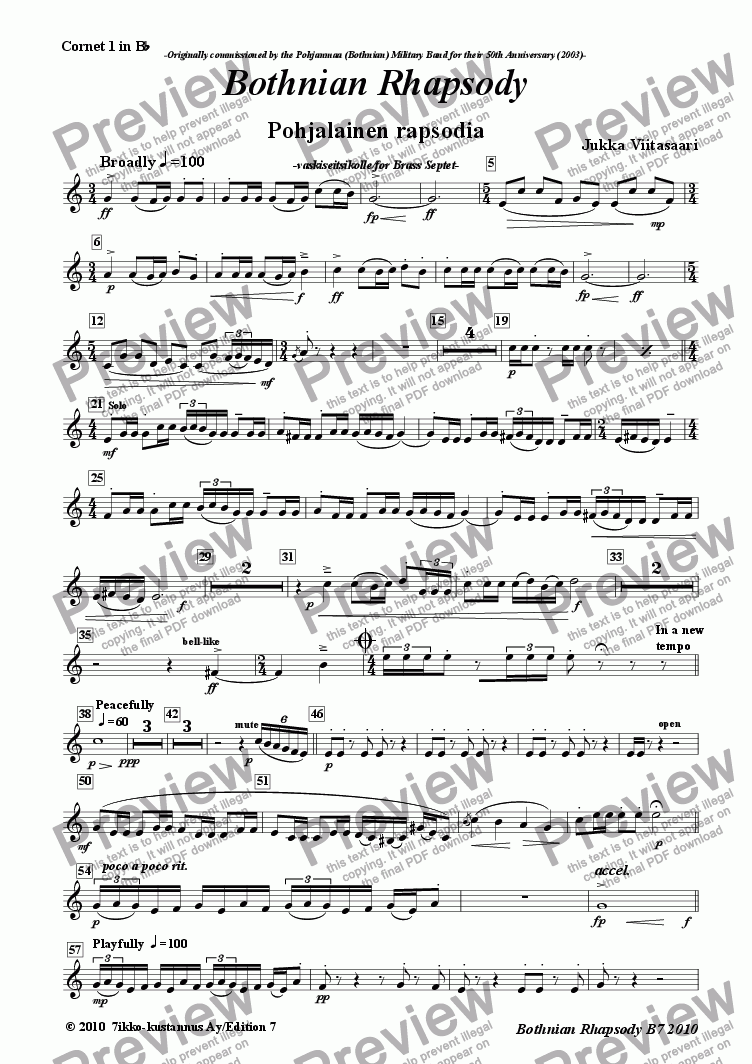 page one of the 2. 1st Cornet/Trumpet in Bb part from Bothnian Rhapsody (brass septet)