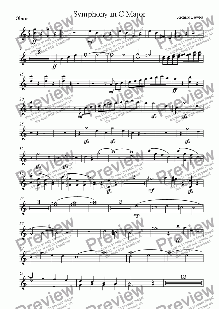 page one of the Oboe part from Symphony in C Major (Movement 1)