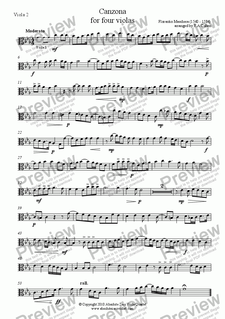 page one of the Viola 2 part from Maschera - CANZONA - for four violas