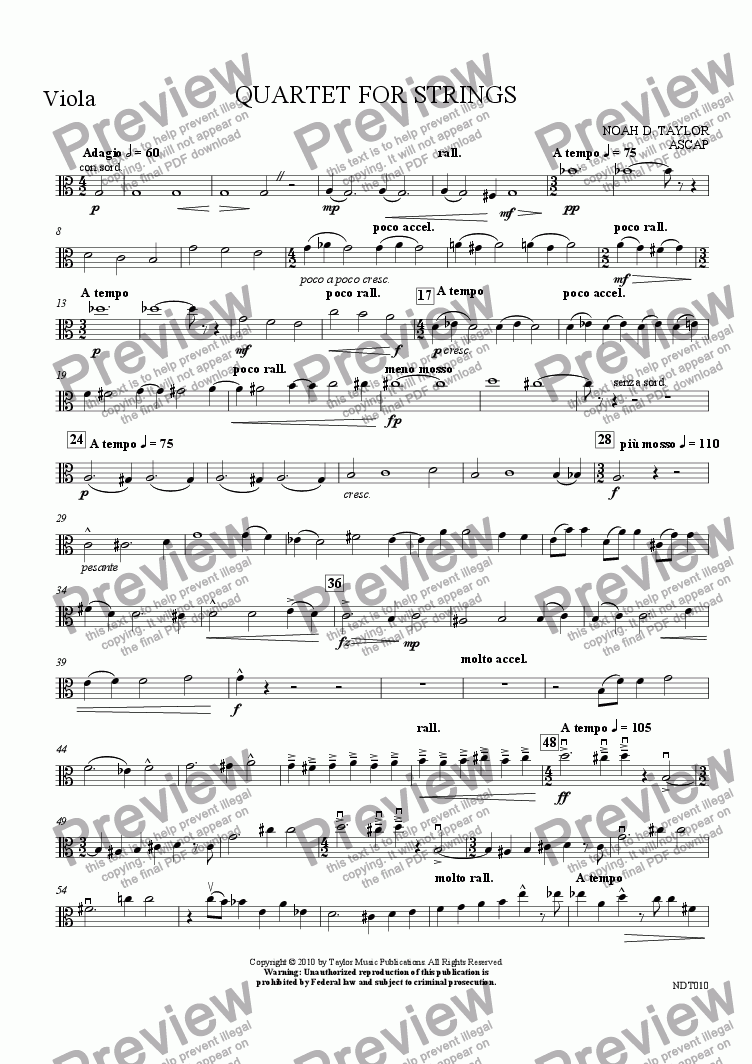page one of the Violon part from Quartet for Strings