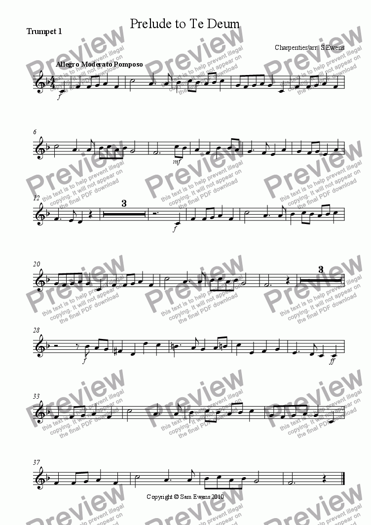 page one of the Trumpet 1 part from Prelude to Te Deum