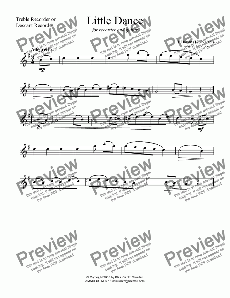 page one of the treble recorder (descant recorder) part from Dance for recorder and guitar
