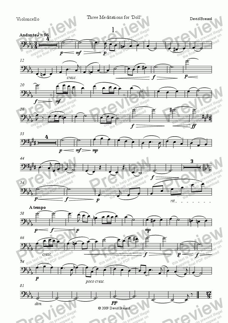 page one of the cello part from Three Meditations