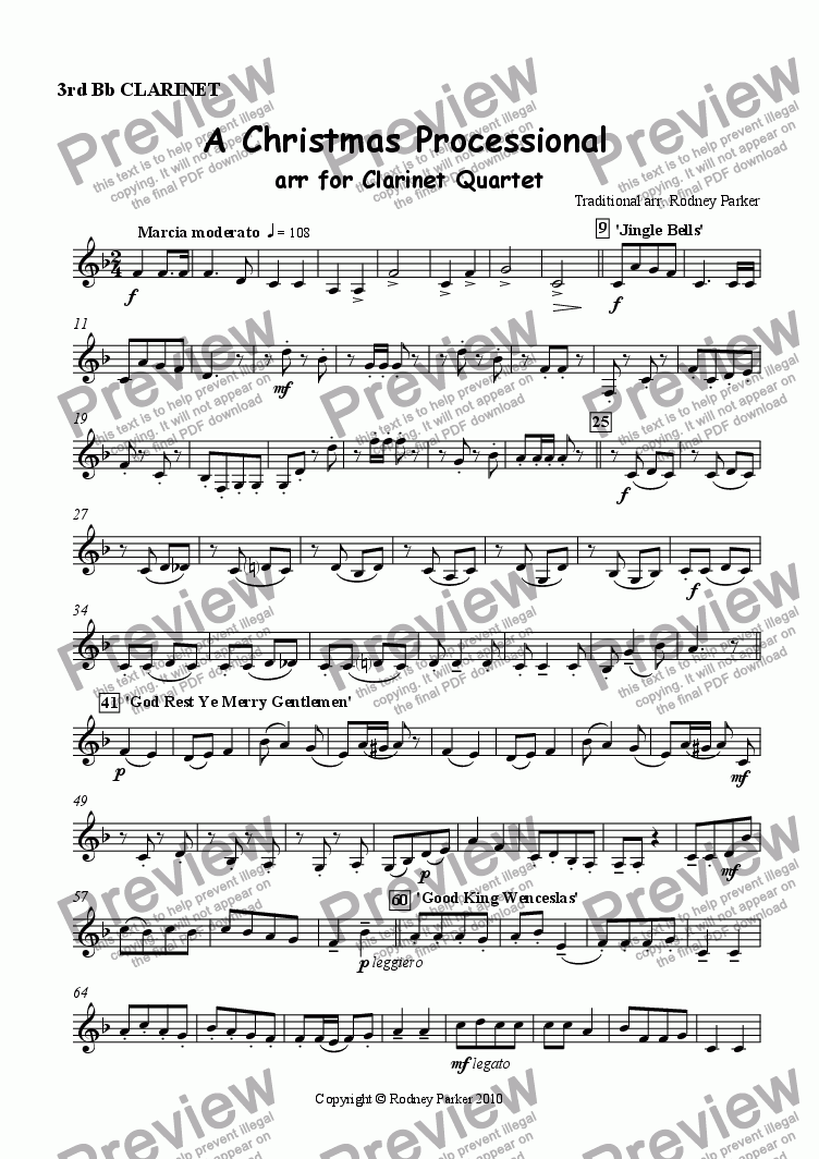 page one of the 3rd Clarinet part from A Christmas Processional arr. for Clarinet Quartet