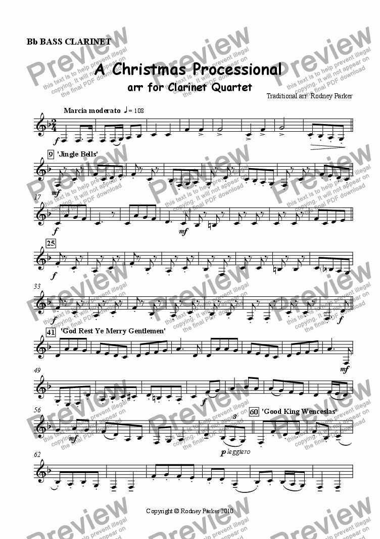 page one of the Bass Clarinet part from A Christmas Processional arr. for Clarinet Quartet