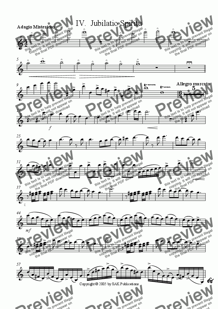page one of the Violin part from Jubillatio Spiritu (IV)