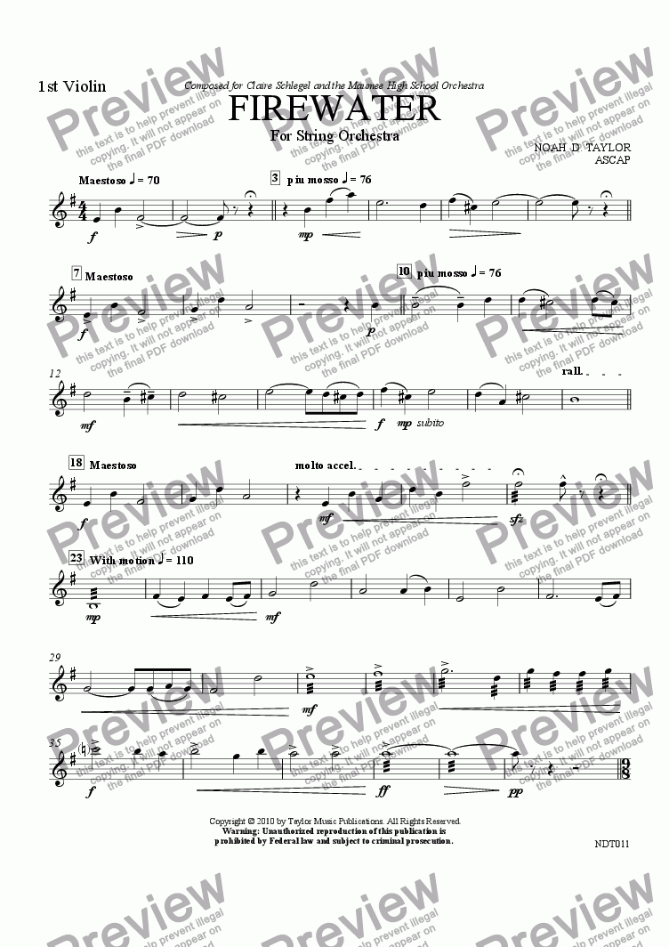 page one of the 1st Violin part from Firewater
