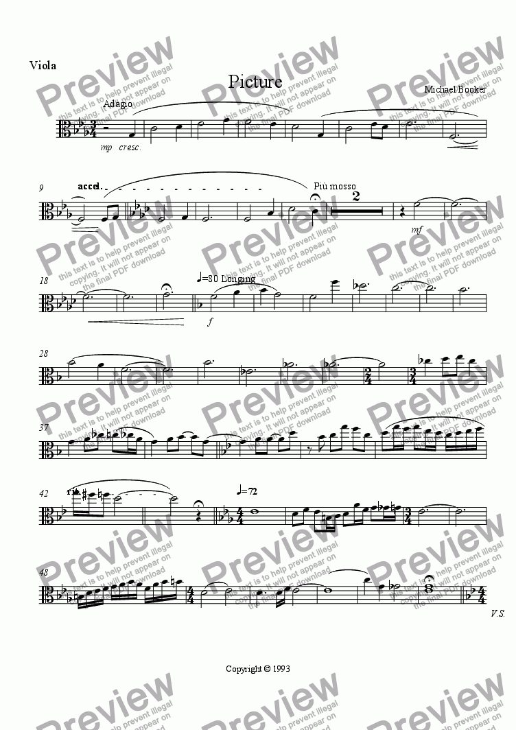 page one of the Viola part from Picture