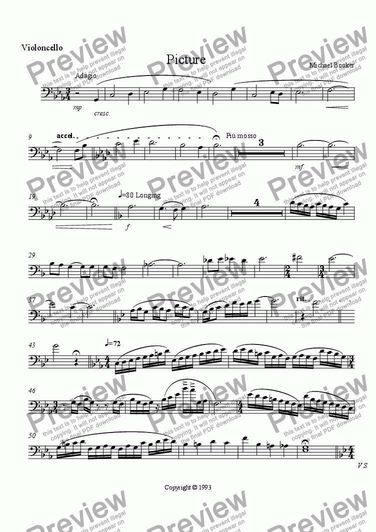 page one of the Cello 2 part from Picture