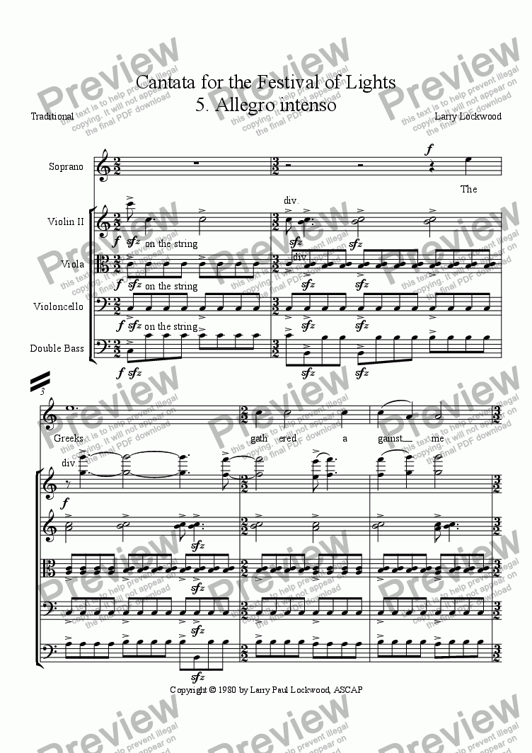 page one of the Bass part from Cantata for the Festival of Lights 5