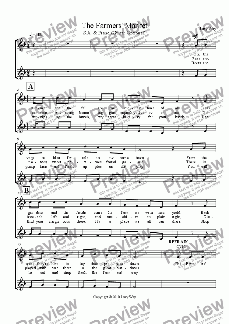 page one of the S.A. Vocal part from The Farmers' Market