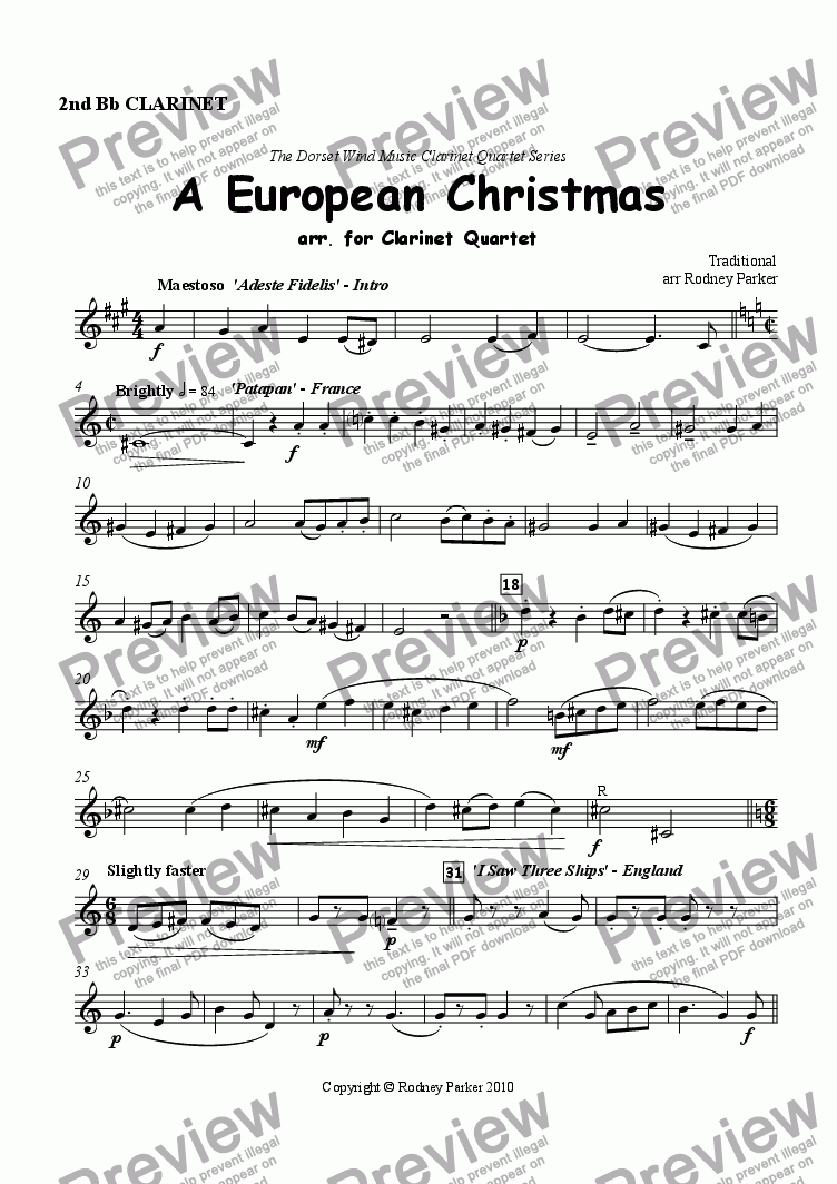 page one of the 2nd Clarinet part from A European Christmas arr. for Clarinet Quartet