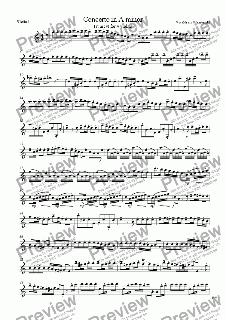 page one of the Violin 1 part from Concerto in A minor for 4