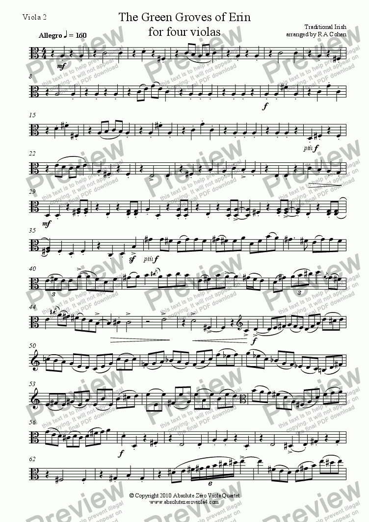 page one of the Viola 2 part from trad. Irish - THE GREEN GROVES OF ERIN - A traditional Irish melody for four violas