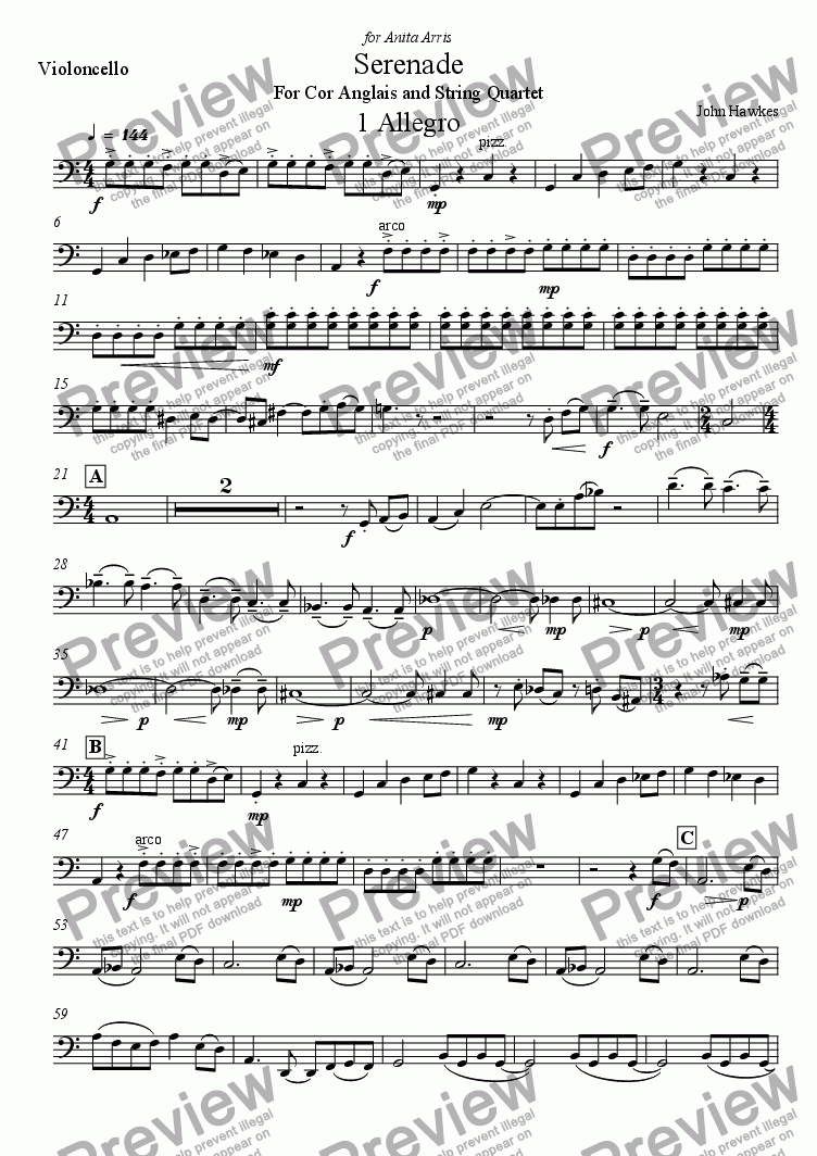 page one of the Violincello part from Serenade for Cor Anglais and String Quartet