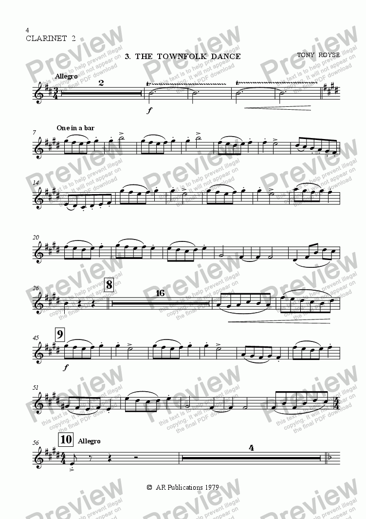 page one of the Clarinet 2 part from Ballet: The Emperor's New Clothes (Act 1 #2-4) Townfolk & the Emperor