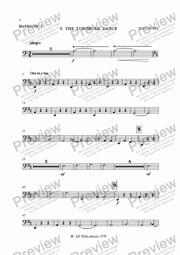 page one of the Bassoon 2 part from Ballet: The Emperor's New Clothes (Act 1 #2-4) Townfolk & the Emperor