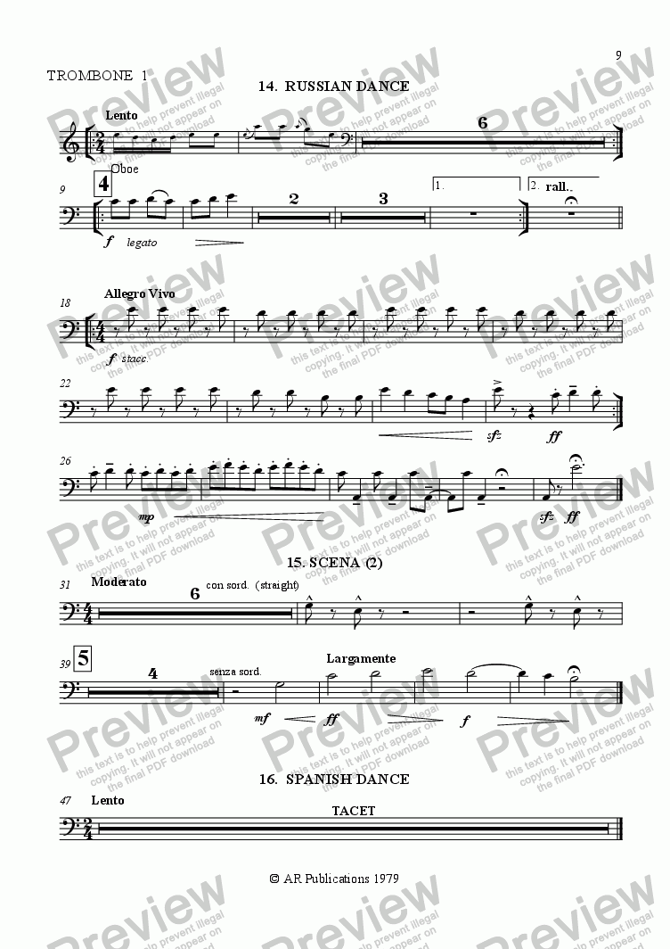 page one of the Trombone 1 part from Ballet: The Emperor's New Clothes (Act 2 #2) Russian & Spanish merchants.