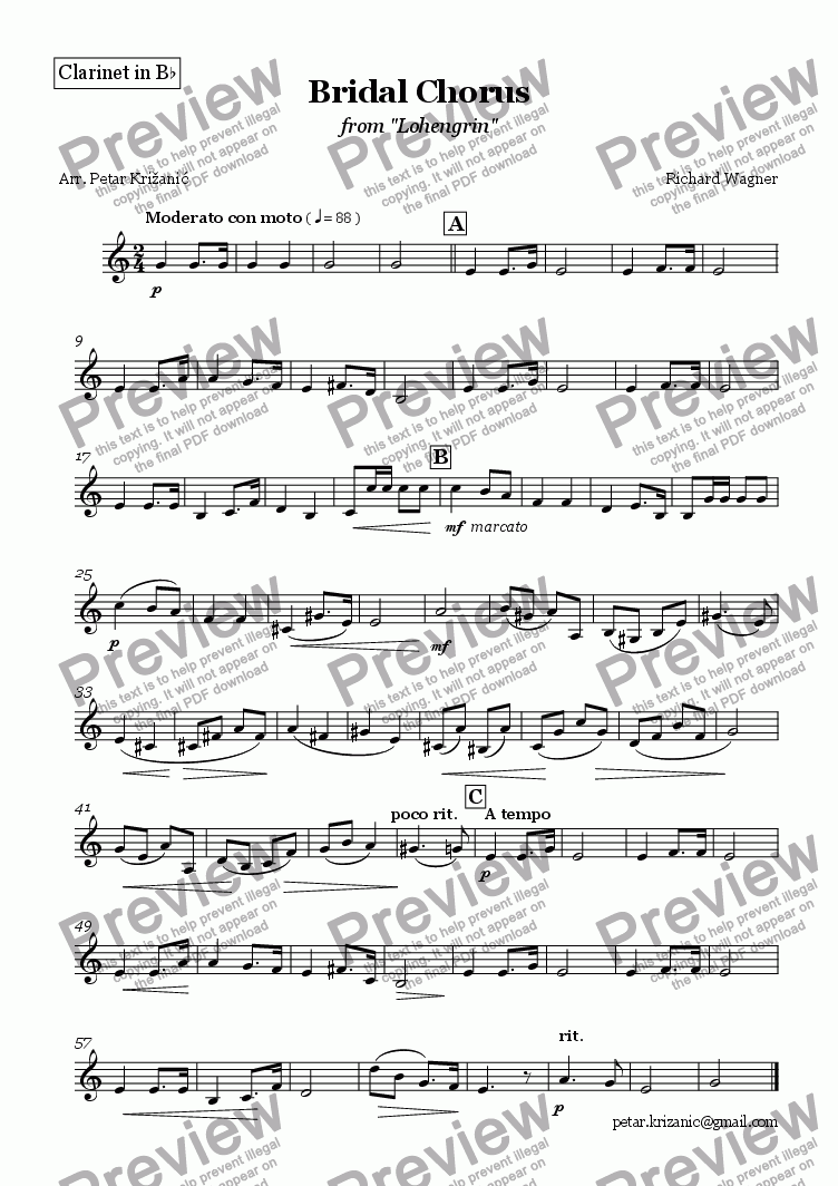 page one of the Clarinet in Bb part from Wagner - Bridal Chorus for Flute (Oboe), Clarinet in Bb and Bassoon