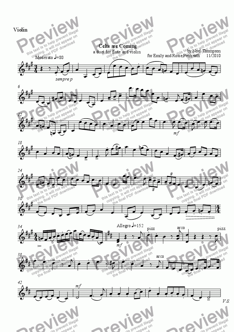 page one of the violin part from Celts are Coming - Flute & Violin Duet