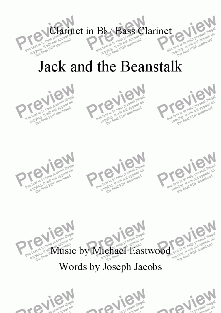page one of the Clarinet part from Jack and the Beanstalk