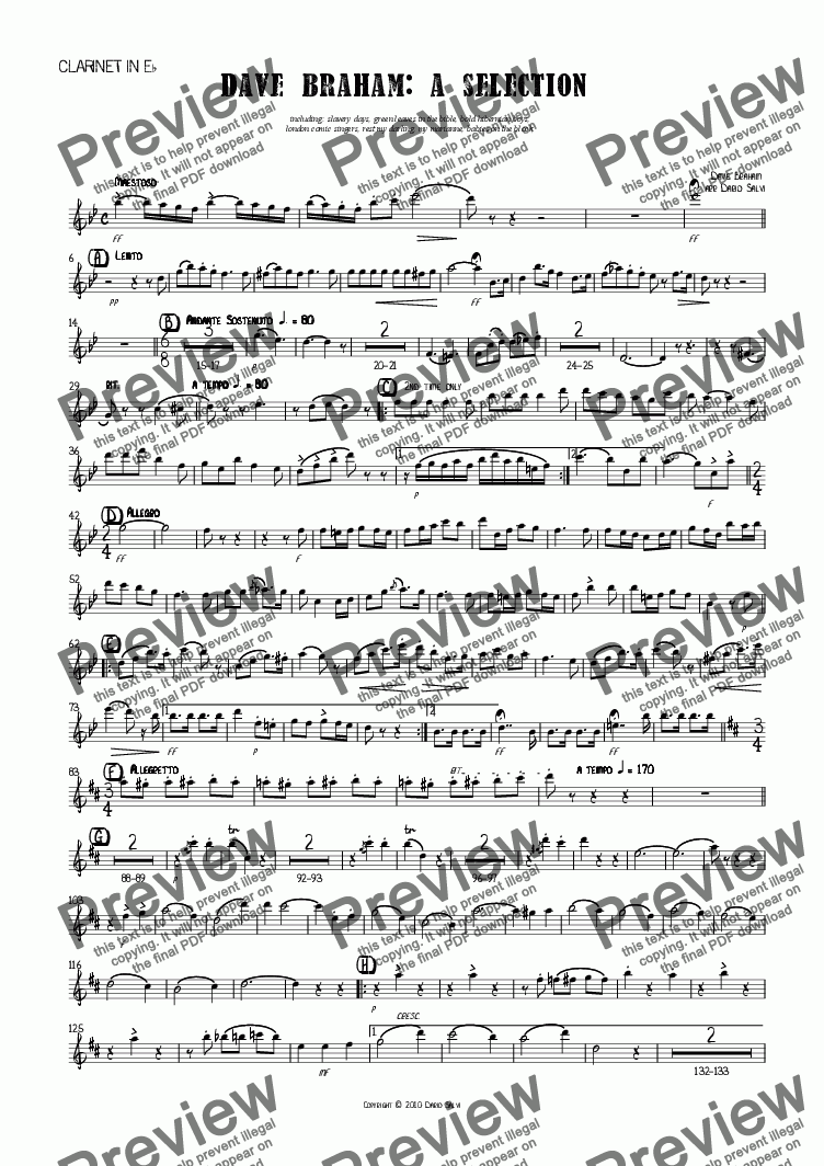 page one of the Eb Clarinet part from Dave Braham : a selection