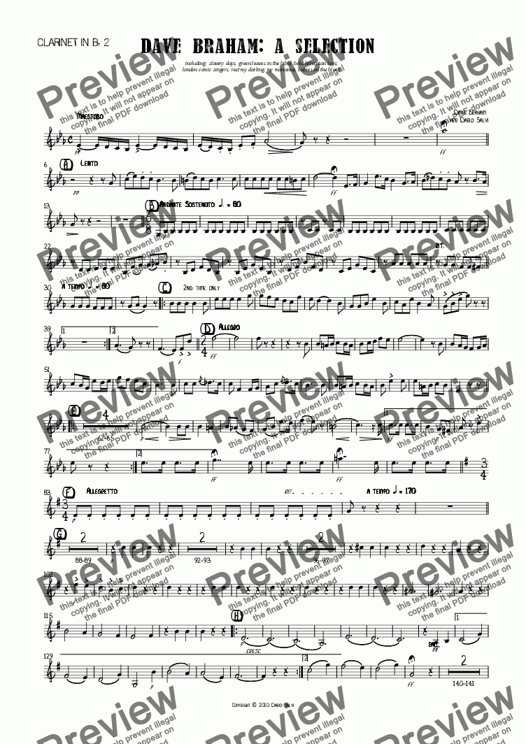 page one of the 2 Clarinet part from Dave Braham : a selection