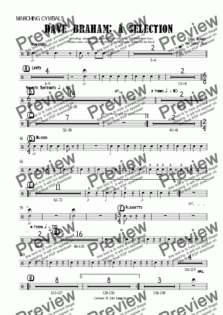page one of the Cymbals part from Dave Braham : a selection