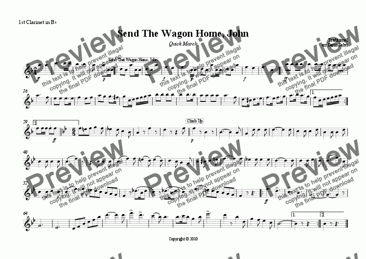 page one of the 1 clarinet part from Send The Wagon Home, John - Quick March