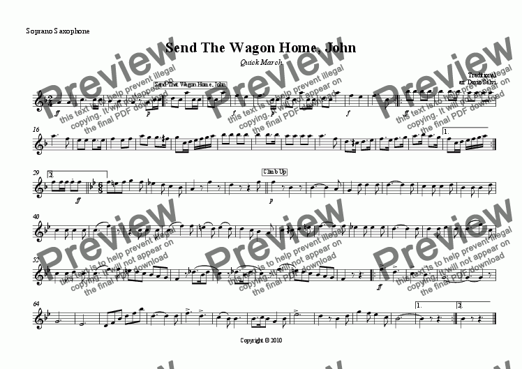 page one of the soprano sax part from Send The Wagon Home, John - Quick March