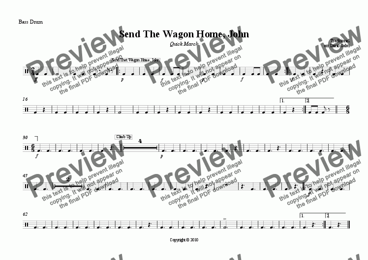 page one of the bass drum part from Send The Wagon Home, John - Quick March