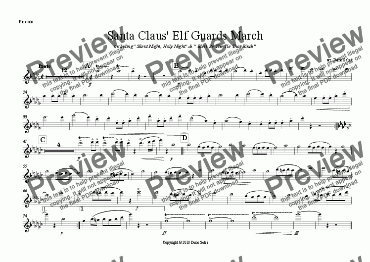 page one of the Piccolo part from Santa Claus' Elf Guards March