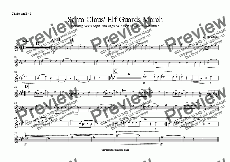 page one of the Clarinet 3 part from Santa Claus' Elf Guards March