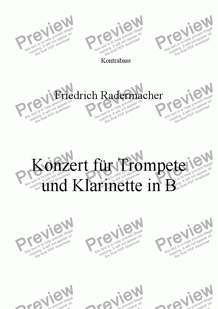 page one of the Kontrabass part from Konzert für Trompete und Klarinette in B