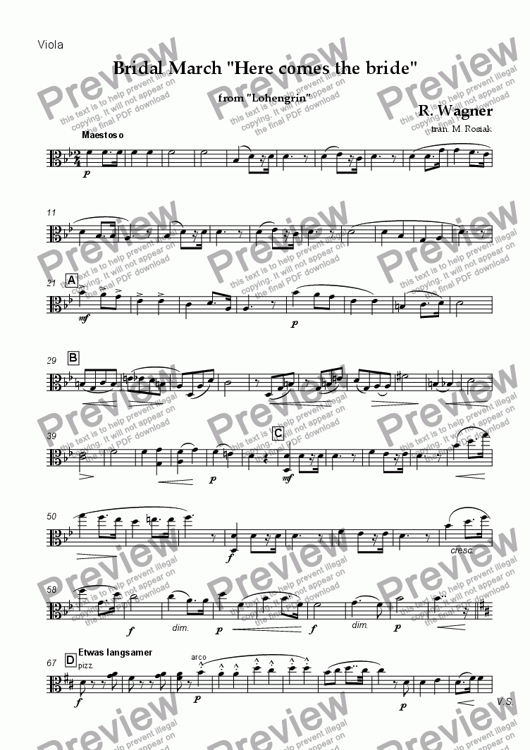page one of the viola part from Bridal March - Here Comes the Bride